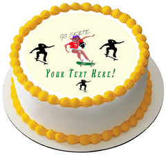 Skateboard Girl - Edible Cake Topper, Cupcake Toppers, Strips