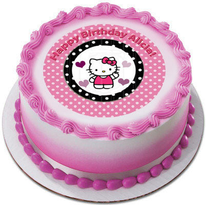 Hello Kitty and Bear Edible Birthday Cake OR Cupcake ...
