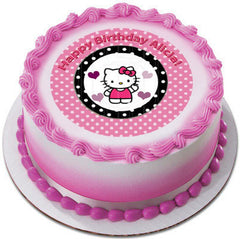 Hello Kitty and Bear Edible Birthday Cake Topper OR Cupcake Topper, Decor - Edible Prints On Cake (Edible Cake &Cupcake Topper)