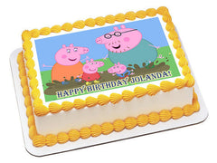 Peppa Pig 2 Edible Birthday Cake Topper OR Cupcake Topper, Decor - Edible Prints On Cake (Edible Cake &Cupcake Topper)