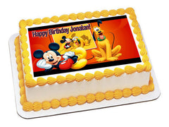 Mickey and Pluto - Edible Cake Topper OR Cupcake Topper, Decor