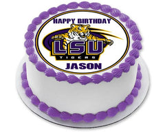 LSU Louisiana State University Edible Birthday Cake Topper OR Cupcake Topper, Decor