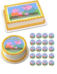 Peppa Pig (Nr2) - Edible Cake Topper OR Cupcake Topper, Decor