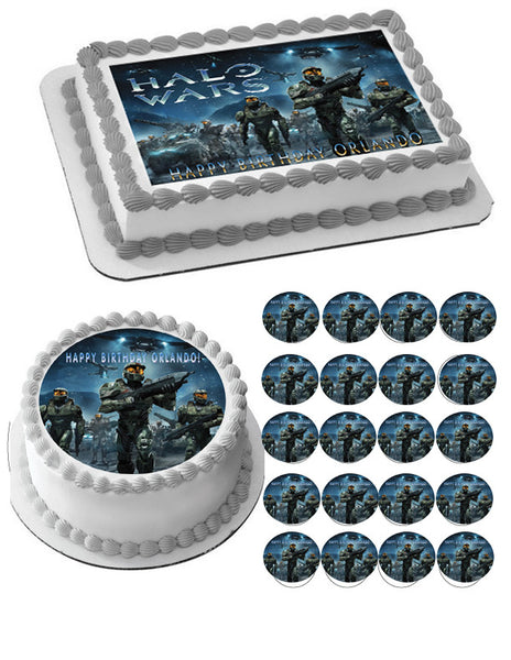 HALO WARS 1 Edible Birthday Cake OR Cupcake Topper ...