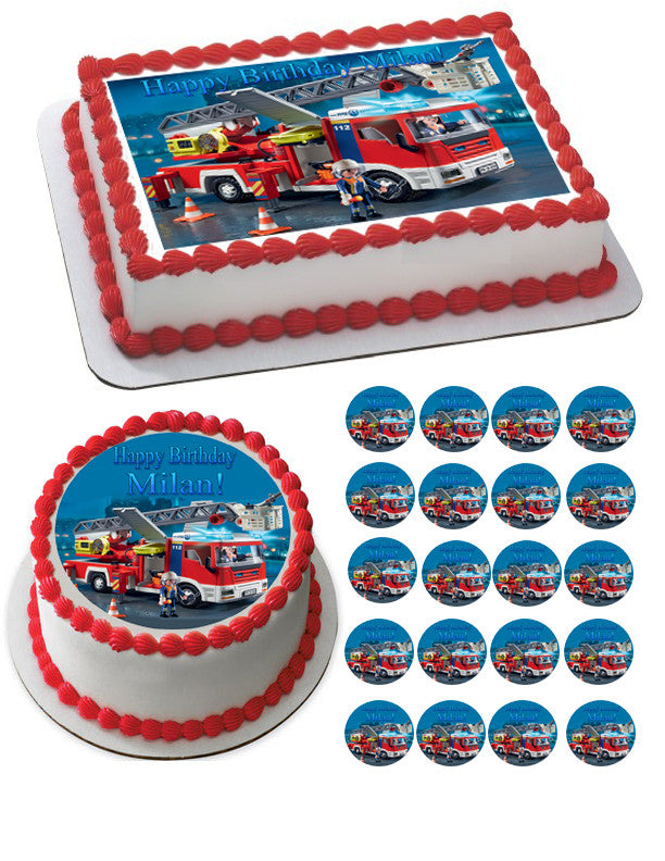 Surprising Lego Fire Truck Edible Birthday Cake Or Cupcake Topper Edible Funny Birthday Cards Online Sheoxdamsfinfo