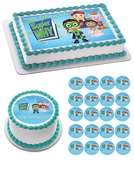 SUPER WHY 3 Edible Birthday Cake OR Cupcake Topper Prints On EPoC