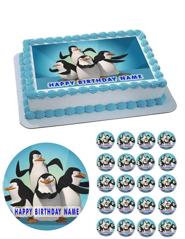 Penguins of Madagascar Edible Cake OR Cupcake Topper ...