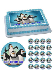 Penguins of Madagascar Edible Birthday Cake Topper OR Cupcake Topper, Decor - Edible Prints On Cake (Edible Cake &Cupcake Topper)