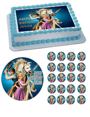 Tangled Edible Birthday Cake Topper OR Cupcake Topper, Decor - Edible Prints On Cake (Edible Cake &Cupcake Topper)