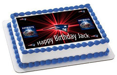 New England Patriots Edible Birthday Cake Topper OR Cupcake Topper, Decor - Edible Prints On Cake (Edible Cake &Cupcake Topper)