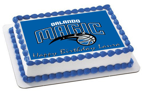 Orlando Magic Edible Birthday Cake Topper OR Cupcake Topper, Decor