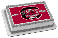 South Carolina Gamecocks Edible Birthday Cake Topper OR Cupcake Topper, Decor - Edible Prints On Cake (Edible Cake &Cupcake Topper)