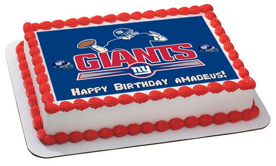 New York Giants Edible Birthday Cake Topper OR Cupcake Topper, Decor - Edible Prints On Cake (Edible Cake &Cupcake Topper)