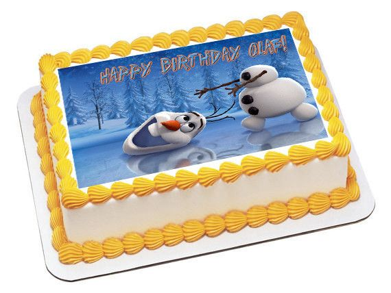 Frozen Happy Olaf Edible Birthday Cake Topper OR Cupcake Decor