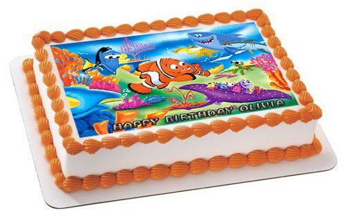 NEMO 1 Edible Birthday Cake Topper OR Cupcake Topper, Decor - Edible Prints On Cake (Edible Cake &Cupcake Topper)