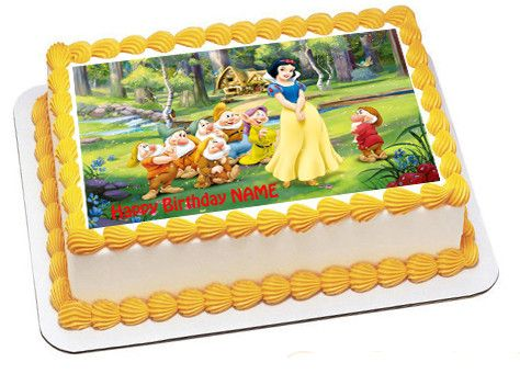Snow white and the seven dwarfs Edible Birthday Cake Topper OR Cupcake Topper, Decor - Edible Prints On Cake (Edible Cake &Cupcake Topper)