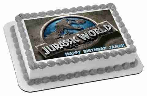 Jurassic World 1 Edible Birthday Cake Topper OR Cupcake Topper, Decor