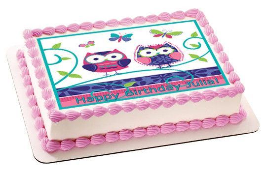 Patchwork Owls Edible Birthday Cake Topper OR Cupcake Topper, Decor - Edible Prints On Cake (Edible Cake &Cupcake Topper)
