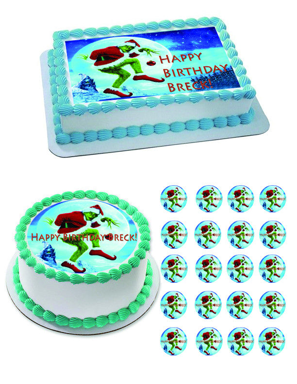 finest selection 8e984 16a84 How the Grinch Stole Christmas 2 Edible Birthday Cake Topper OR Cupcake  Topper, Decor