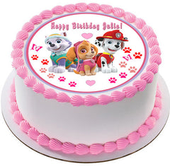 Paw Patrol Girls Edible Birthday Cake Topper OR Cupcake Topper, Decor - Edible Prints On Cake (Edible Cake &Cupcake Topper)