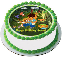 Go Diego Go Edible Birthday Cake Topper OR Cupcake Topper, Decor - Edible Prints On Cake (Edible Cake &Cupcake Topper)