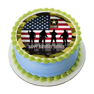 Us Army Edible Birthday Cake Or Cupcake Topper Edible