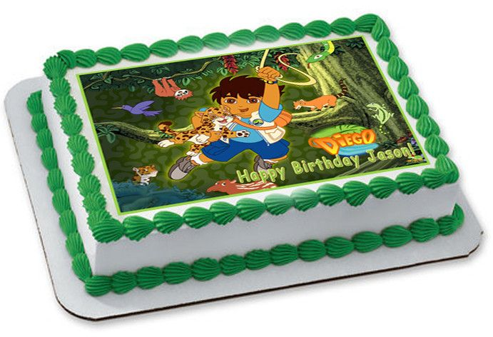 Go Diego Go Edible Birthday Cake OR Cupcake Topper  Edible Prints - Go diego go birthday cake
