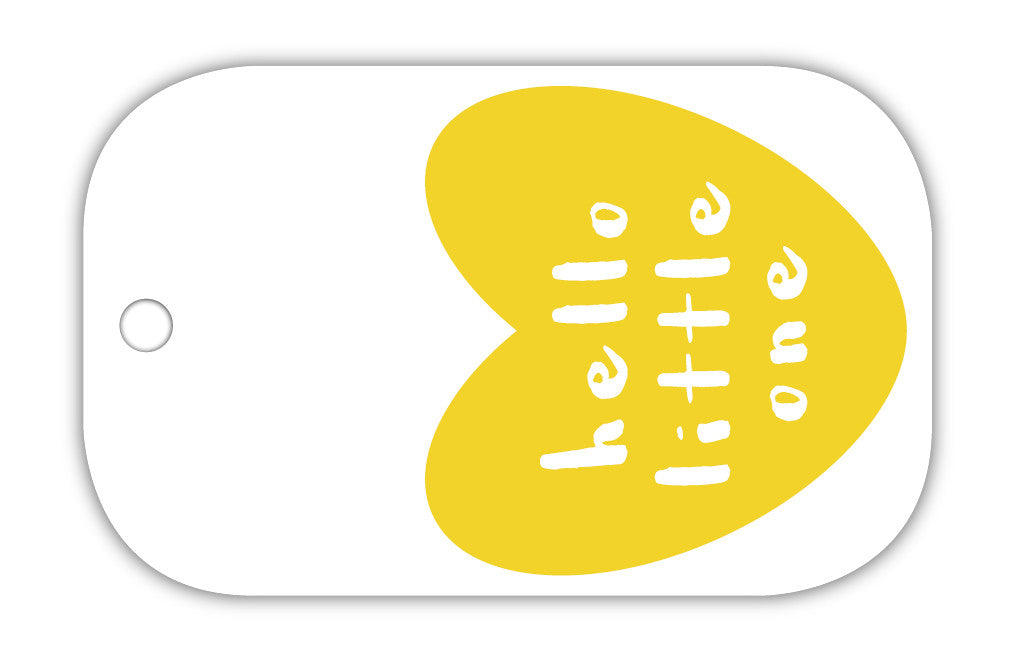 TCS Gift Tag - Hello little one yellow heart