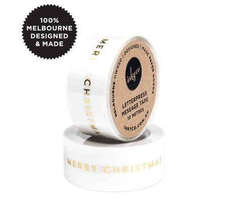 InkyCo Message Tape Merry Christmas Gold