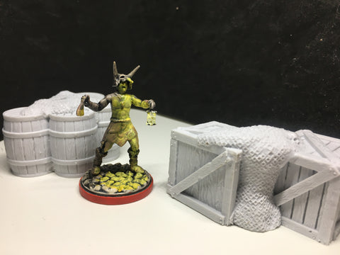 Crates and Barrels For Dock Set - 28-32mm Tabletop Terrain