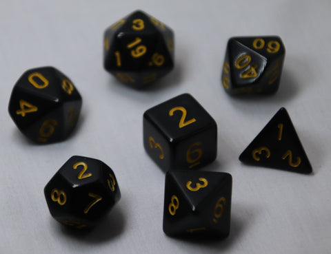 Opaque Anthracite/Ochre RPG Polyhedral Dice Set