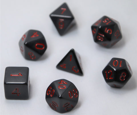 Opaque Anthracite/Orc Blood RPG Polyhedral Dice Set