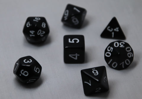 Opaque Anthracite RPG Polyhedral Dice Set