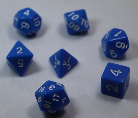 Opaque Blue/White RPG Polyhedral Dice Set