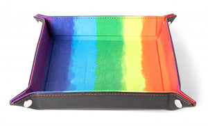 Velvet Folding Dice Tray: 10''x10'' Watercolor Rainbow with Leather