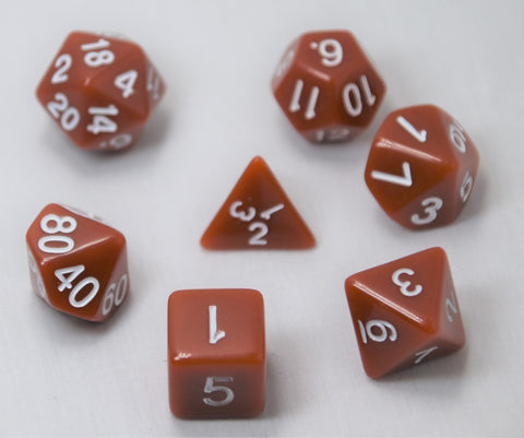 Opaque Caramel/White RPG Polyhedral Dice Set