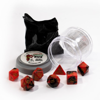 Pizza Dungeon Dice: Dual Red & Black (7-die set)