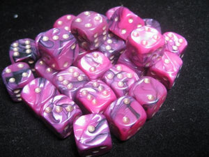Crystal Caste RPG Dice Sets: Toxic Black/Pink 12mm d6 (27)
