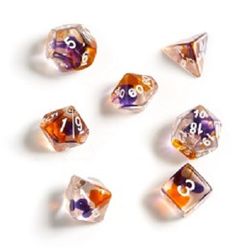 RPG Dice Set (7): Orange, Clear & Purple Translucent