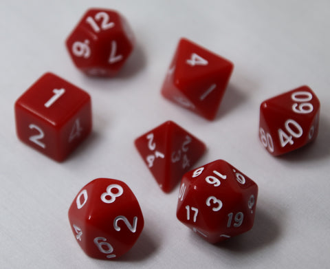 Opaque Red/White RPG Polyhedral Dice Set