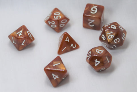 Marbled Salted Caramel/White RPG Polyhedral Dice Set