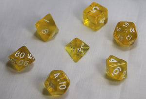 Translucent Lemon Drop Yellow/White RPG Polyhedral Dice Set