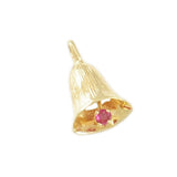Bell Charm with Ruby Clapper - Lone Palm Jewelry