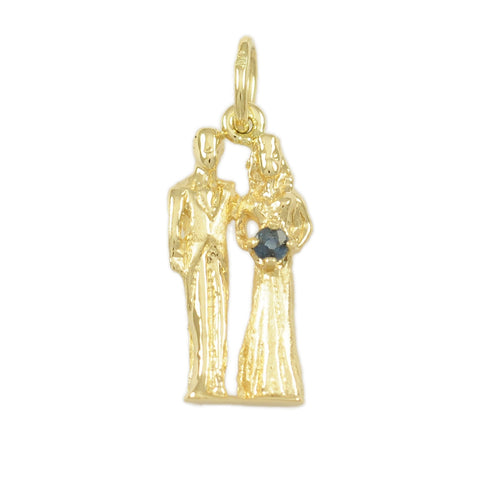 Bride & Groom with Sapphire Gemstone Bouquet - Lone Palm Jewelry