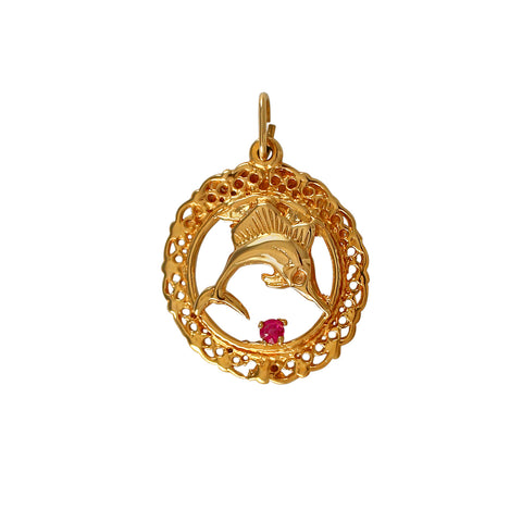 "00422 - 7/8"" Sailfish Pendant with Lace Frame and Ruby"