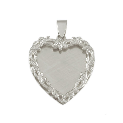 "1 3/8"" Engravable Heart with Border - Lone Palm Jewelry"