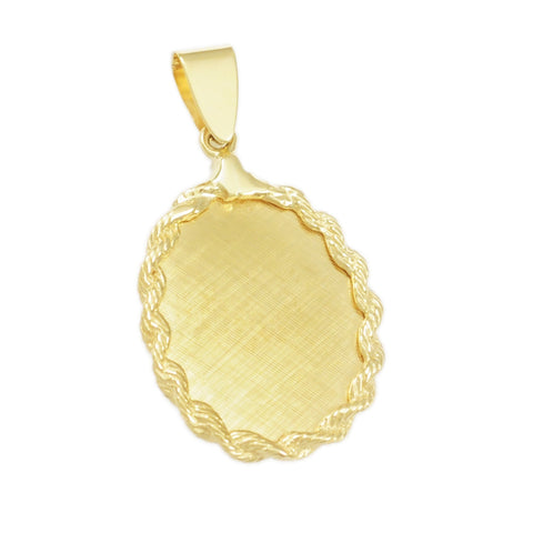 "1 1/4"" Engravable Oval with Rope Border - Lone Palm Jewelry"