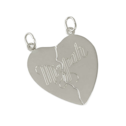 "1 1/8"" Engraved 2 Piece ""Mizpah"" Heart - Lone Palm Jewelry"