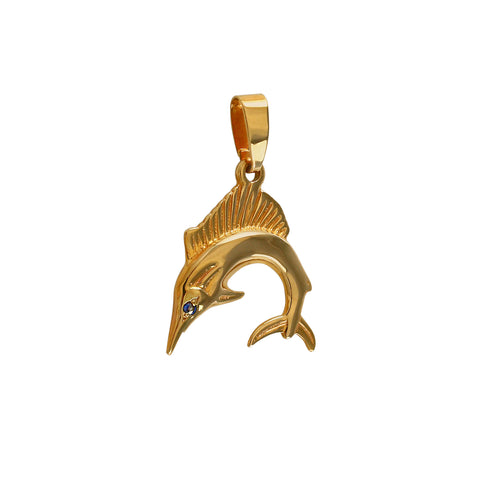 "03432 - 3/4"" Sailfish with Sapphire Eye Pendant"