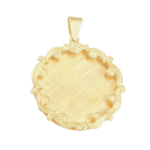 "1 1/2"" Engravable Disc with Flourish Border - Lone Palm Jewelry"